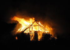 Fire village house at night. Stock Photography
