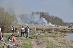 Fire by the Vistula Stock Image