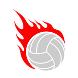Fire volleyball. Flame ball. Emblem game sport team.  Stock Images