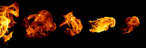 Fire volleys in black background Stock Photography