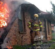 Fire vs. House. A fire devours everything it can in this structure fire Stock Images