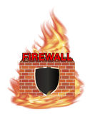 Fire wall protection logo with shield and brick wall with fire Stock Image