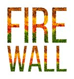 Word fire wall written with leaves white isolated background, banner for printing, creative illustration of colored. Fire wall word is written with leaves white Stock Images