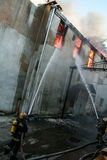 A fire in a warehouse at 108 Frolovska Stock Photo