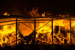 Fire at the warehouse stock photography