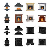 Fire, warmth and comfort. Fireplace set collection icons in black,cartoon style vector symbol stock illustration web. Fire, warmth and comfort. Fireplace set Stock Image