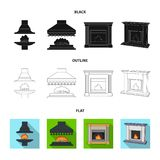 Fire, warmth and comfort.Fireplace set collection icons in black,flat,outline style vector symbol stock illustration web. Fire, warmth and comfort.Fireplace set Royalty Free Stock Image