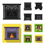 Fire, warmth and comfort.Fireplace set collection icons in black, flat style vector symbol stock illustration web. Fire, warmth and comfort.Fireplace set Stock Images