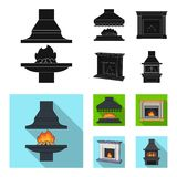Fire, warmth and comfort.Fireplace set collection icons in black, flat style vector symbol stock illustration web. Fire, warmth and comfort.Fireplace set Stock Image