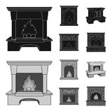 Fire, warmth and comfort.Fireplace set collection icons in black,monochrom style vector symbol stock illustration web. Fire, warmth and comfort.Fireplace set Royalty Free Stock Photos