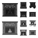 Fire, warmth and comfort.Fireplace set collection icons in black,monochrom style vector symbol stock illustration web. Fire, warmth and comfort.Fireplace set Stock Image