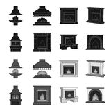 Fire, warmth and comfort. Fireplace set collection icons in black,monochrome style vector symbol stock illustration web. Fire, warmth and comfort. Fireplace set Royalty Free Stock Image