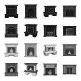Fire, warmth and comfort.Fireplace set collection icons in black,monochrome style vector symbol stock illustration web. Fire, warmth and comfort.Fireplace set Stock Photo
