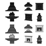 Fire, warmth and comfort.Fireplace set collection icons in black,monochrome style vector symbol stock illustration web. Fire, warmth and comfort.Fireplace set Royalty Free Stock Photos