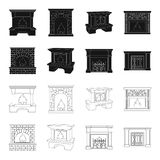 Fire, warmth and comfort.Fireplace set collection icons in black,outline style vector symbol stock illustration web. Fire, warmth and comfort.Fireplace set Stock Photo