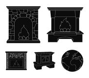 Fire, warmth and comfort.Fireplace set collection icons in black style vector symbol stock illustration web. Fire, warmth and comfort.Fireplace set collection Stock Photos