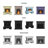 Fire, warmth and comfort.Fireplace set collection icons in cartoon,black,monochrome style vector symbol stock. Illustration Stock Photography