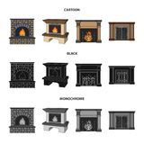 Fire, warmth and comfort.Fireplace set collection icons in cartoon,black,monochrome style vector symbol stock. Illustration Stock Photos