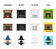 Fire, warmth and comfort.Fireplace set collection icons in cartoon,black,outline,flat style vector symbol stock. Illustration Stock Photos