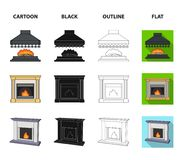 Fire, warmth and comfort.Fireplace set collection icons in cartoon,black,outline,flat style vector symbol stock. Illustration Royalty Free Stock Image
