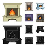 Fire, warmth and comfort.Fireplace set collection icons in cartoon,black style vector symbol stock illustration web. Fire, warmth and comfort.Fireplace set Royalty Free Stock Photo