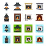 Fire, warmth and comfort. Fireplace set collection icons in cartoon,flat style vector symbol stock illustration web. Fire, warmth and comfort. Fireplace set Stock Image
