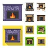 Fire, warmth and comfort.Fireplace set collection icons in cartoon,flat style vector symbol stock illustration web. Fire, warmth and comfort.Fireplace set Stock Photography