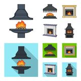 Fire, warmth and comfort.Fireplace set collection icons in cartoon,flat style vector symbol stock illustration web. Fire, warmth and comfort.Fireplace set Royalty Free Stock Image