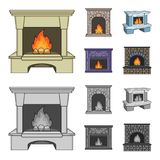 Fire, warmth and comfort.Fireplace set collection icons in cartoon,monochrome style vector symbol stock illustration web. Fire, warmth and comfort.Fireplace set Royalty Free Stock Photos