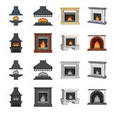 Fire, warmth and comfort. Fireplace set collection icons in cartoon,monochrome style vector symbol stock illustration.  Stock Photography