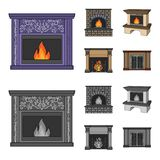 Fire, warmth and comfort.Fireplace set collection icons in cartoon,monochrome style vector symbol stock illustration web. Fire, warmth and comfort.Fireplace set Stock Images