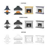 Fire, warmth and comfort.Fireplace set collection icons in cartoon,outline,monochrome style vector symbol stock. Illustration Stock Image