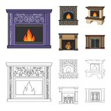 Fire, warmth and comfort.Fireplace set collection icons in cartoon,outline style vector symbol stock illustration web. Fire, warmth and comfort.Fireplace set Stock Photography