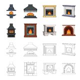 Fire, warmth and comfort. Fireplace set collection icons in cartoon,outline style vector symbol stock illustration web. Fire, warmth and comfort. Fireplace set Stock Images