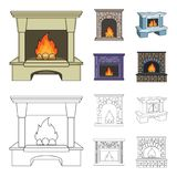 Fire, warmth and comfort.Fireplace set collection icons in cartoon,outline style vector symbol stock illustration web. Fire, warmth and comfort.Fireplace set Royalty Free Stock Photography