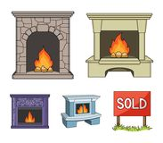 Fire, warmth and comfort.Fireplace set collection icons in cartoon style vector symbol stock illustration web. Fire, warmth and comfort.Fireplace set collection Royalty Free Stock Photography