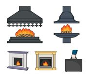 Fire, warmth and comfort.Fireplace set collection icons in cartoon style vector symbol stock illustration web. Fire, warmth and comfort.Fireplace set collection Royalty Free Stock Image