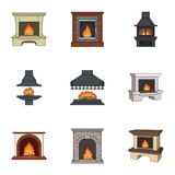 Fireplace related icon set. Fire, warmth and comfort. Fireplace set collection icons in cartoon style vector symbol stock illustration Stock Image