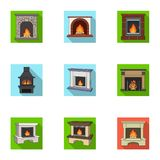 Fire related icon set. Fire, warmth and comfort. Fireplace set collection icons in flat style vector symbol stock illustration Stock Photography