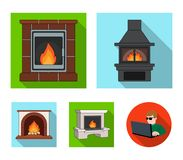 Fire, warmth and comfort. Fireplace set collection icons in flat style vector symbol stock illustration web. Fire, warmth and comfort. Fireplace set collection Stock Photos