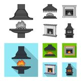 Fire, warmth and comfort.Fireplace set collection icons in monochrome,flat style vector symbol stock illustration web. Fire, warmth and comfort.Fireplace set Stock Photo