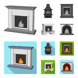 Fire, warmth and comfort. Fireplace set collection icons in monochrome,flat style vector symbol stock illustration web. Fire, warmth and comfort. Fireplace set Royalty Free Stock Images