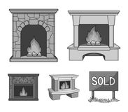 Fire, warmth and comfort.Fireplace set collection icons in monochrome style vector symbol stock illustration web. Fire, warmth and comfort.Fireplace set Stock Photo