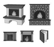 Fire, warmth and comfort.Fireplace set collection icons in monochrome style vector symbol stock illustration web. Fire, warmth and comfort.Fireplace set Stock Photography