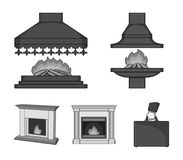 Fire, warmth and comfort.Fireplace set collection icons in monochrome style vector symbol stock illustration web. Fire, warmth and comfort.Fireplace set Royalty Free Stock Photo