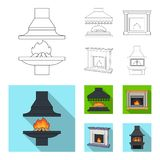 Fire, warmth and comfort.Fireplace set collection icons in outline,flat style vector symbol stock illustration web. Fire, warmth and comfort.Fireplace set Stock Image