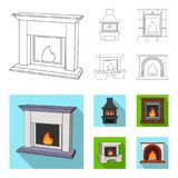 Fire, warmth and comfort. Fireplace set collection icons in outline,flat style vector symbol stock illustration web. Fire, warmth and comfort. Fireplace set Royalty Free Stock Photo