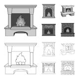 Fire, warmth and comfort.Fireplace set collection icons in outline,monochrome style vector symbol stock illustration web. Fire, warmth and comfort.Fireplace set Royalty Free Stock Images