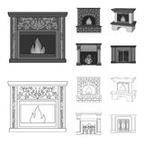 Fire, warmth and comfort.Fireplace set collection icons in outline,monochrome style vector symbol stock illustration web. Fire, warmth and comfort.Fireplace set Royalty Free Stock Photo