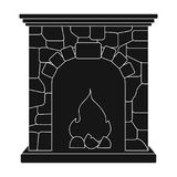 Fire, warmth and comfort. Fireplace single icon in black style vector. Stock Images